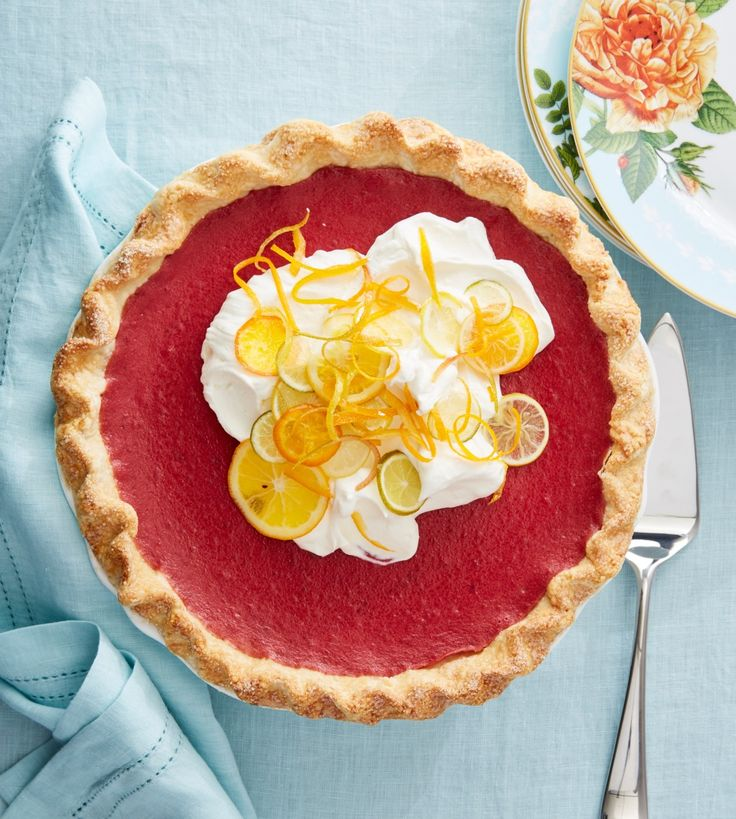 Cranberry Curd Pie with Citrus Whipped Cream