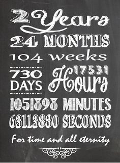 The Willis Family: 2 Year anniversary chalkboard printable