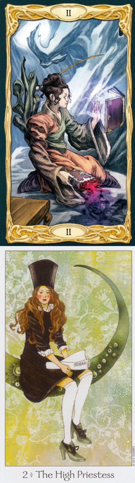 THE HIGH PRIESTESS: inner voice and repressed/unheard inner voice (reverse). Epic Tarot deck and Dreaming Way Tarot deck: lotus tarot card reading, tarod card and free tarot. New tarot reading and divination methods. #witchy #magician #wicca #wands #wheeloffortune