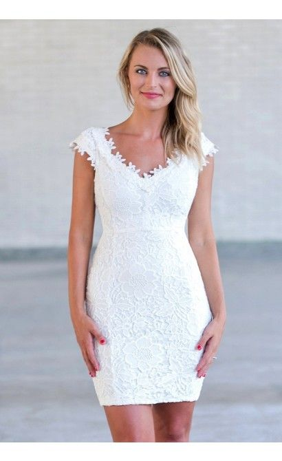 a5c2f62ec89 Hailey Crochet Lace Capsleeve Pencil Dress in Ivory in 2019 ...