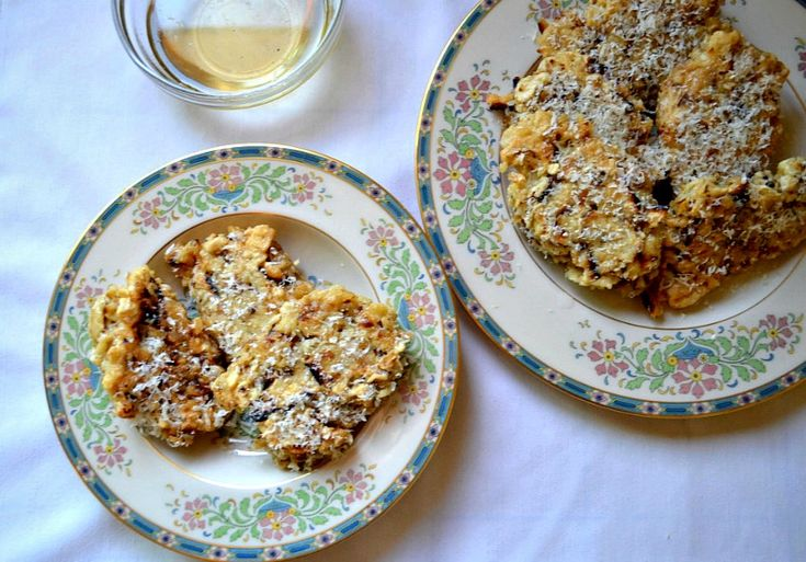 A family heirloom, bimuelos are a fried pancake with matzo, eggs and Parmesan cheese dipped in a sweet simple syrup.