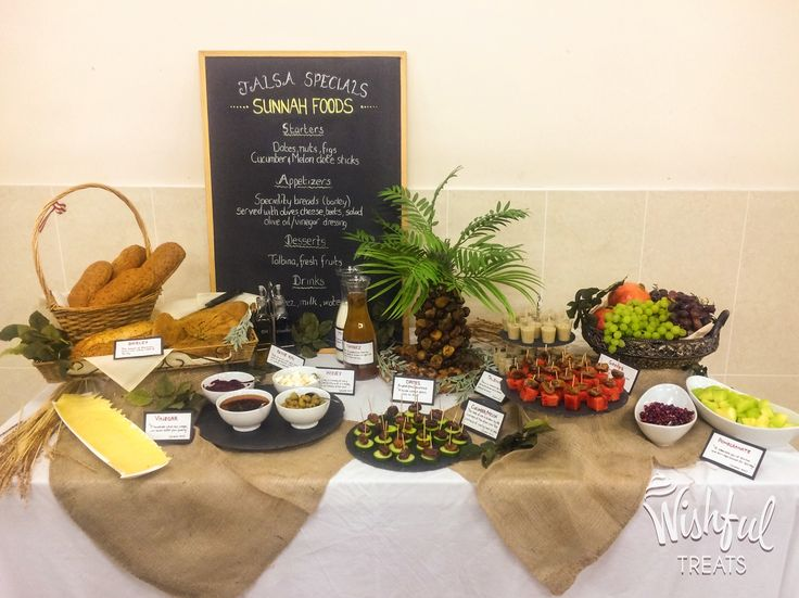 SUNNAH FOOD TABLE One of our personal favourites! An Alima graduation party for my niece. A great way to learn about foods eaten by the Prophet (pbuh) and their benefits. Guests were impressed by the presentation and loved the treats. A great idea for any occasion. #reviveasunnah #sunnahfoods #healthyeating #fruits #dates #talbina #olives #Manchester #baking #freshbread #superfoods #wishfultreats