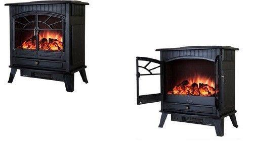Free Standing Electric Fireplace Heater Stove 23' 1500W Vintage Glass Door Black #FreeStandingElectricFireplaceHeaterStove