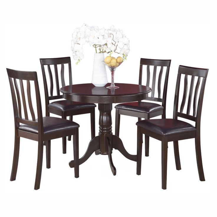 East West Furniture Antique 5 Piece Pedestal Round Dining Table Set With  Faux Leather Seat