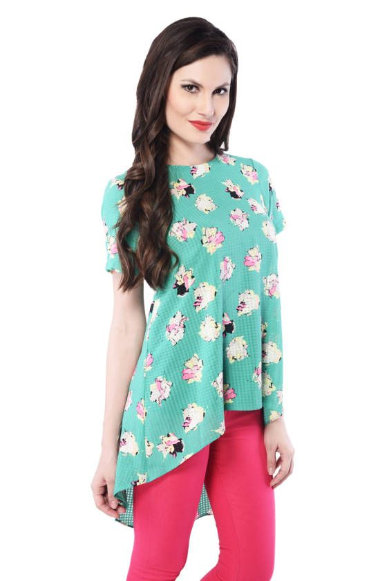 Shopo.in : Buy Green Printed High Low Top online at best price in New Delhi, India