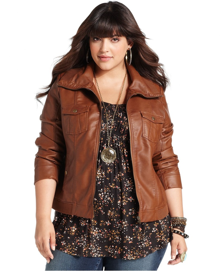 up to 3x. $79.00 American Rag Plus Size Jacket, Faux Leather Bomber