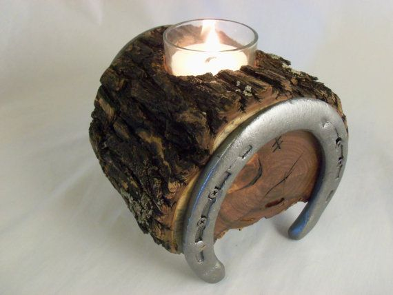 Mesquite candle holder with horse shoe legs made in texas for Hufeisen aus holz