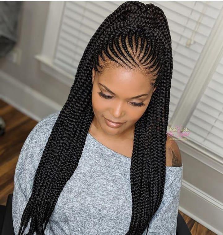 Od9jastyles Braided Ponytail So Fine Ankara And Asoebi Styles African Hair Braiding Styles African Braids Styles Braided Ponytail Hairstyles