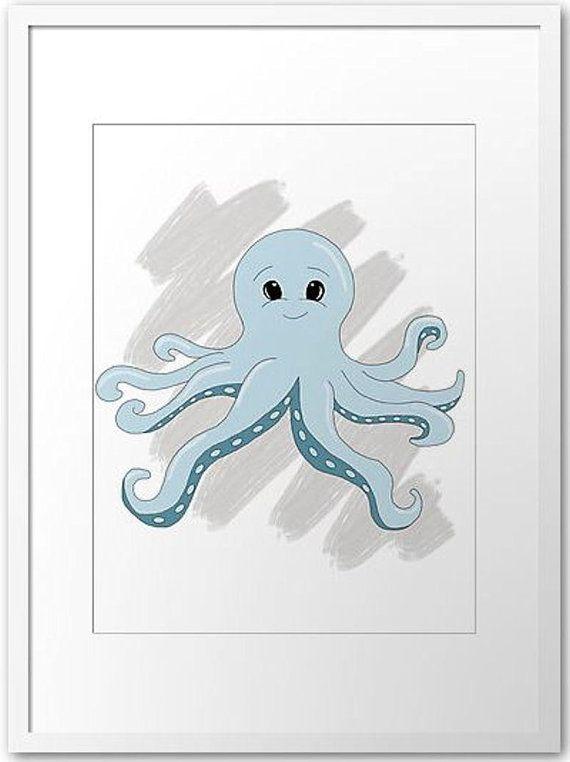 Octopus Printout / Wall art nursery Ocean by PocketFulOfPrintouts