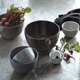 Ceramic Mixing Bowls, Set of 7, Black to White Tonal