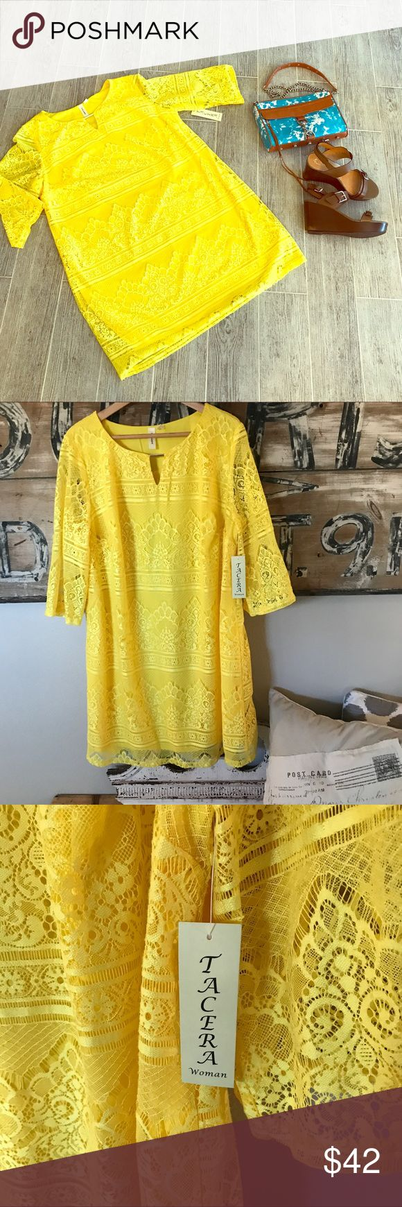 🎉final price drop🎉NWT yellow lace plus dress Brand new! Summer ready! On trend! Dresses Long Sleeve