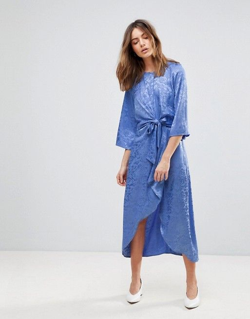 5ced57014dc Y.A.S Satin Midi Dress With Kimono Sleeve