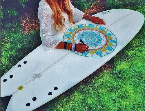 drawing on surfboard with posca pens