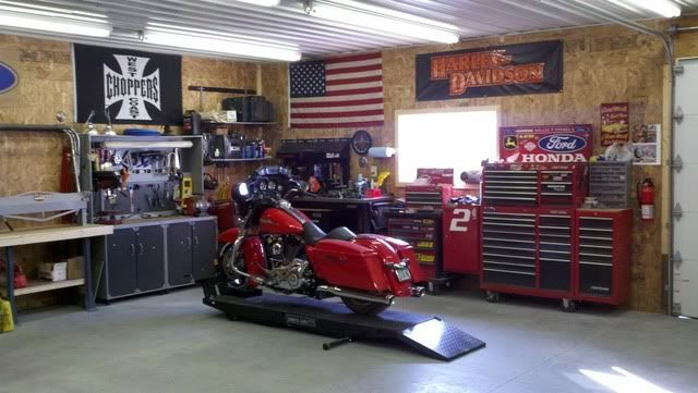 Harley motorcycle workshop my garage pinterest for Home garage shop