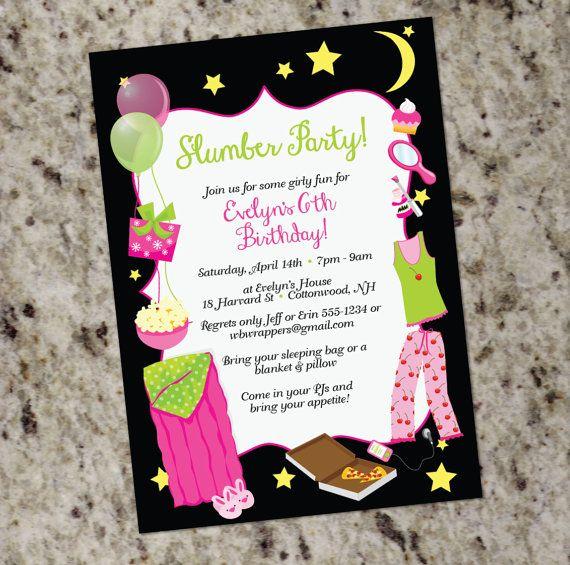 sleepover birthday partyt invitations