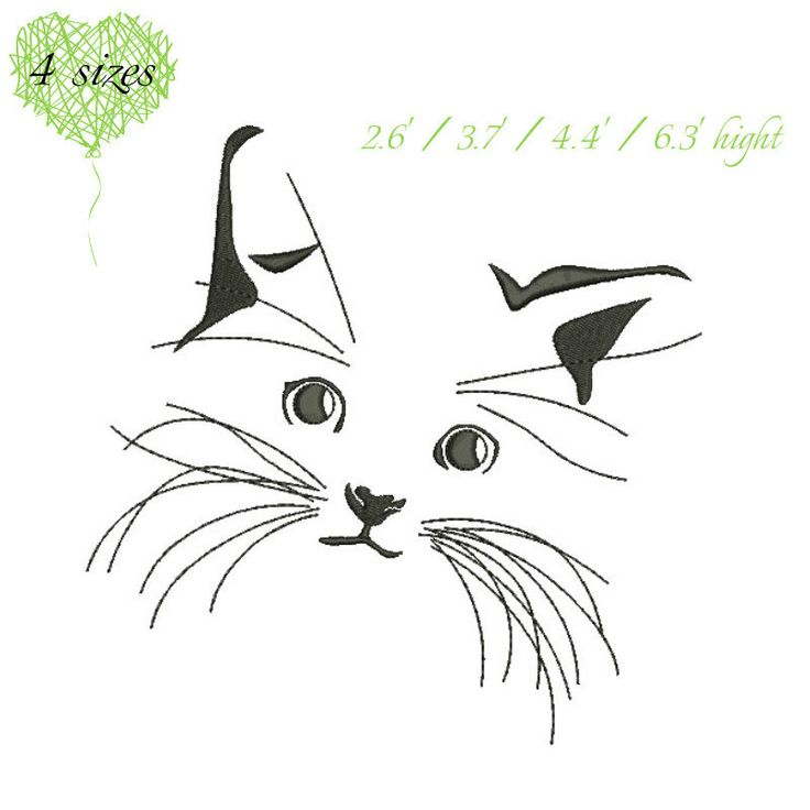 cat face embroidery design pussy kitten kitty puss machine pattern digital download designs by GretaembroideryShop on Etsy