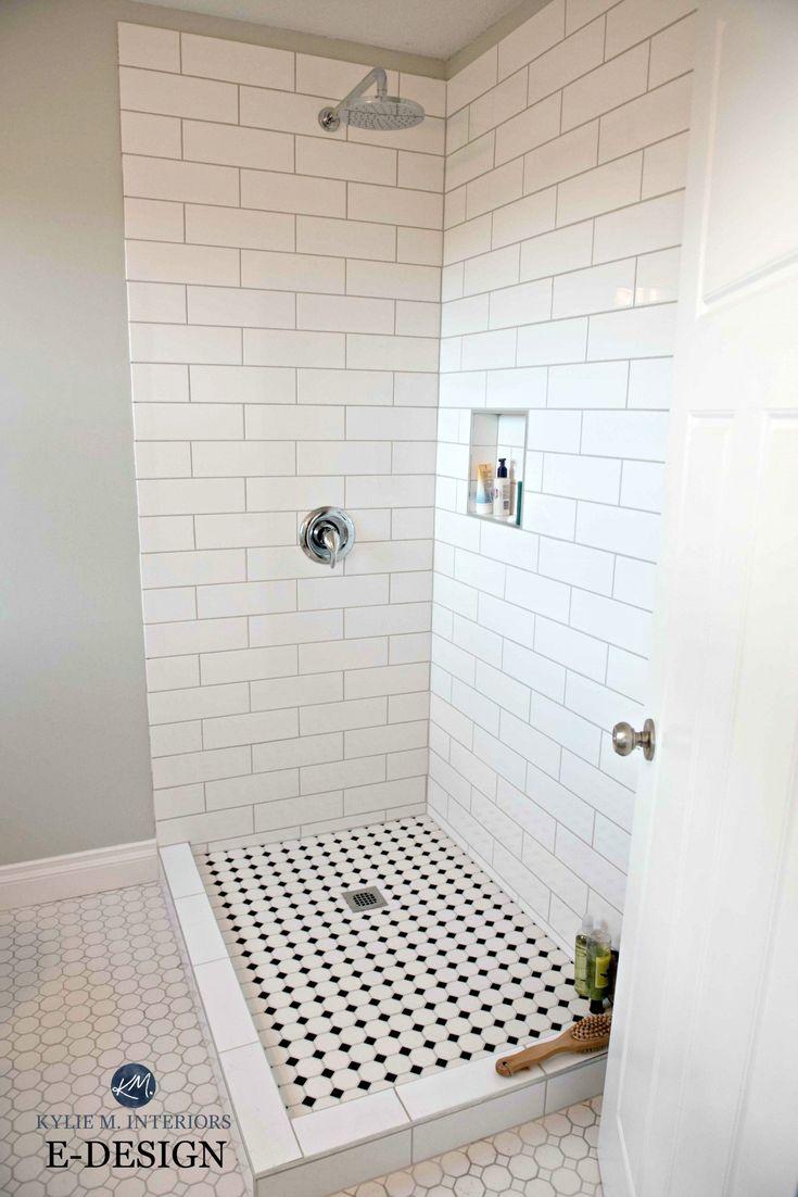 Small-bathroom-shower-subway-tile-hexagon-and-Benjamin-Moore-Gray-Cashmere-paint-colour.-Kylie-M-E-design-and-Online-Colour-expert.jpg 2,000×2,997 pixels