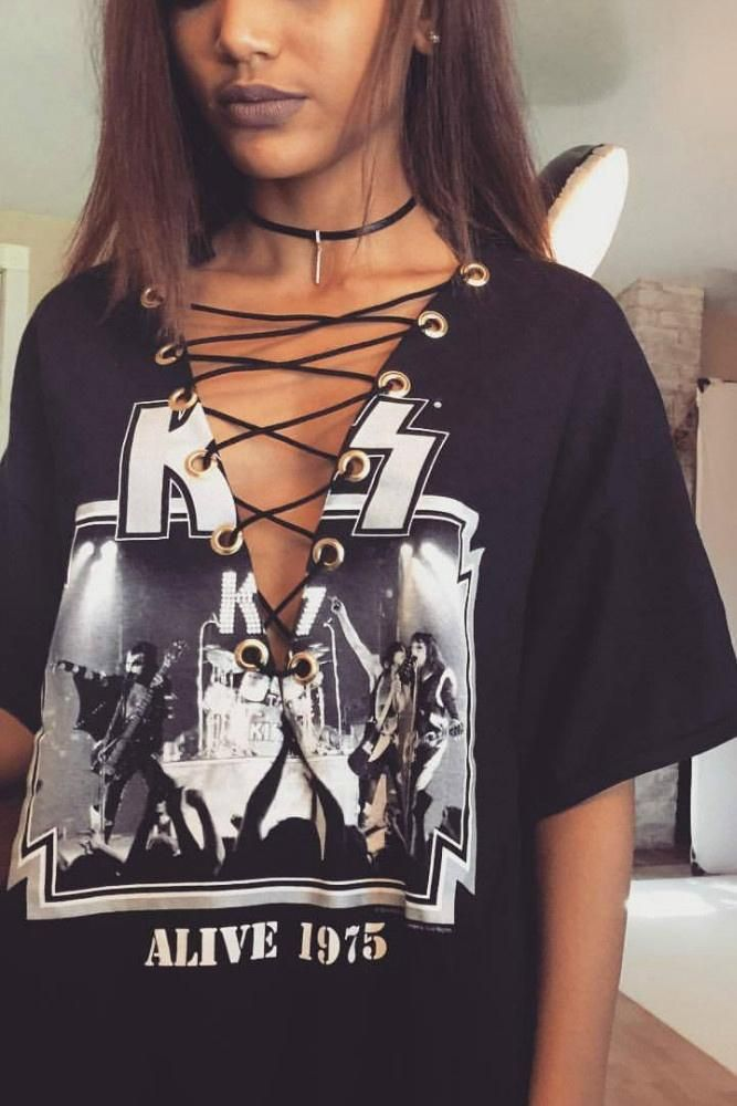 4de84d54988e Retro Print Lace Up Oversize Band T-shirt | Lupsona:T-shirt | Lace ...