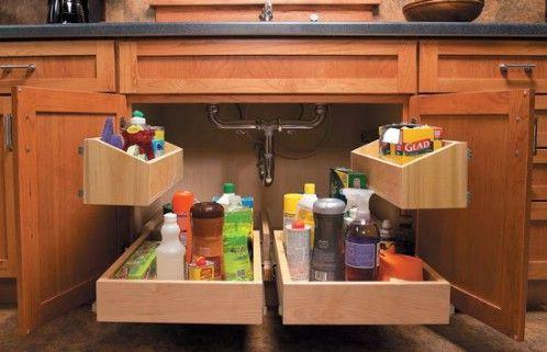 Brilliant Under-Sink Storage - 60+ Innovative Kitchen Organization and Storage DIY Projects