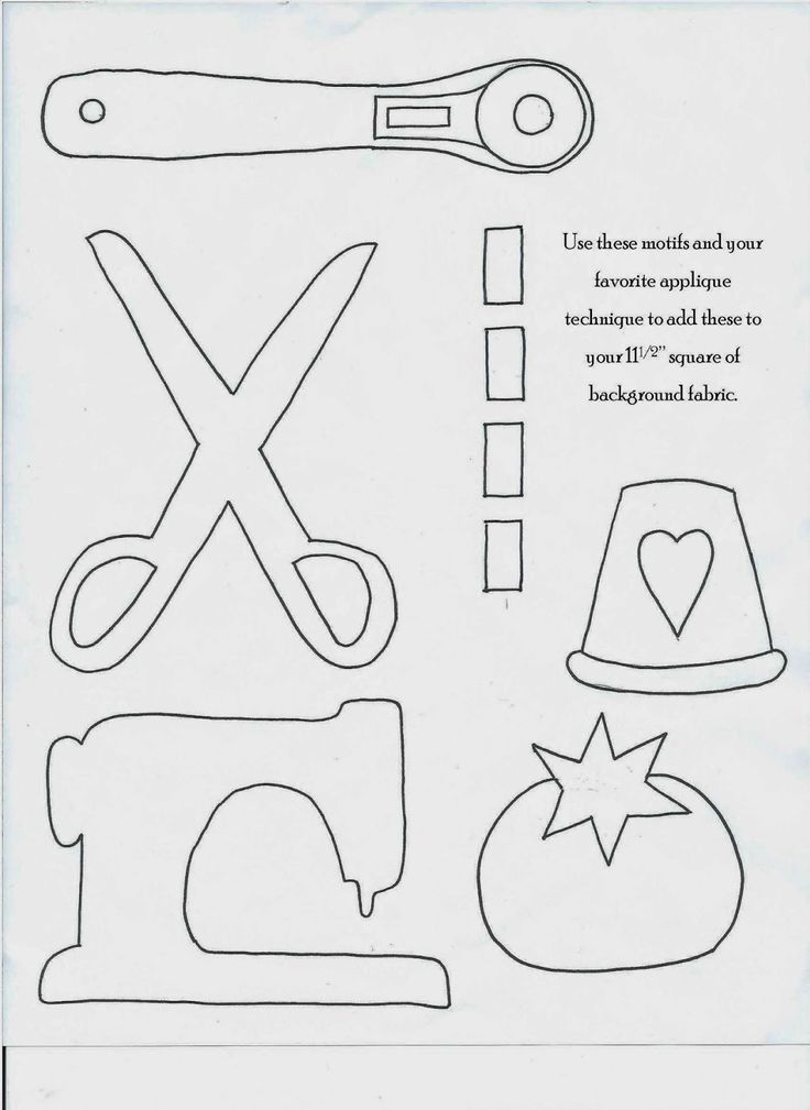 Random items template- scissors, sewing machine, pin cushion and thimble