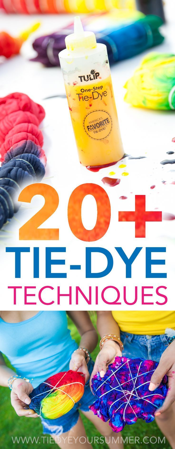 Get inspired with one of these cool tie dye techniques / patterns from Tulip. Get over 20+ ideas from shibori to spiral to ombre to get your tie dye on this summer! Step by step examples make it easy to follow along!