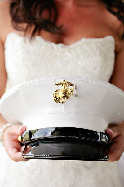 Love this photo opp for a military wedding! {Elle Golden Photography}