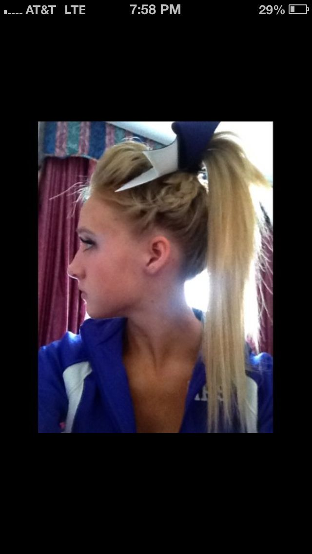 Cheerleader Hairstyles ayssa gets cheerleader hairstyle ready for pep rally with a bump braid pony tail combo Find This Pin And More On Cheer Hair By Cheerleaderlexi