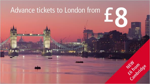£8 Advance train tickets to London