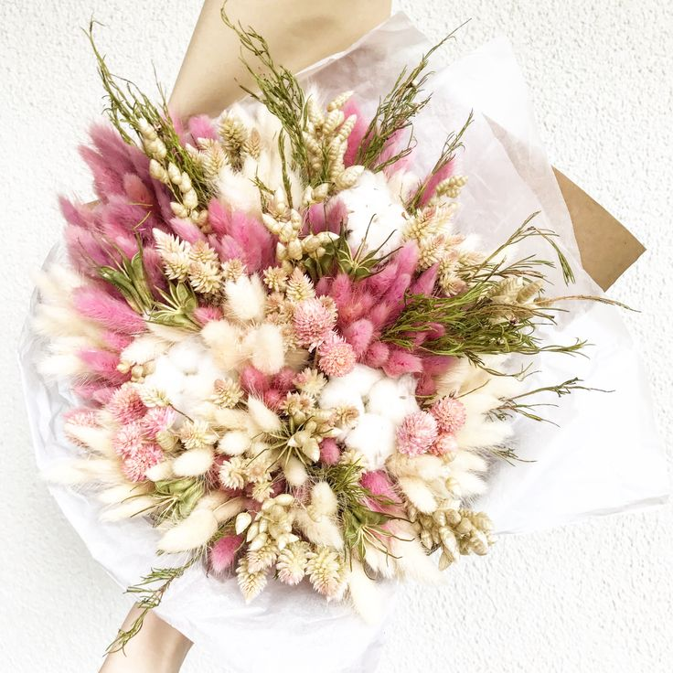 Зефирный букет из сухоцветов - Dried flowers. Dried bouquet