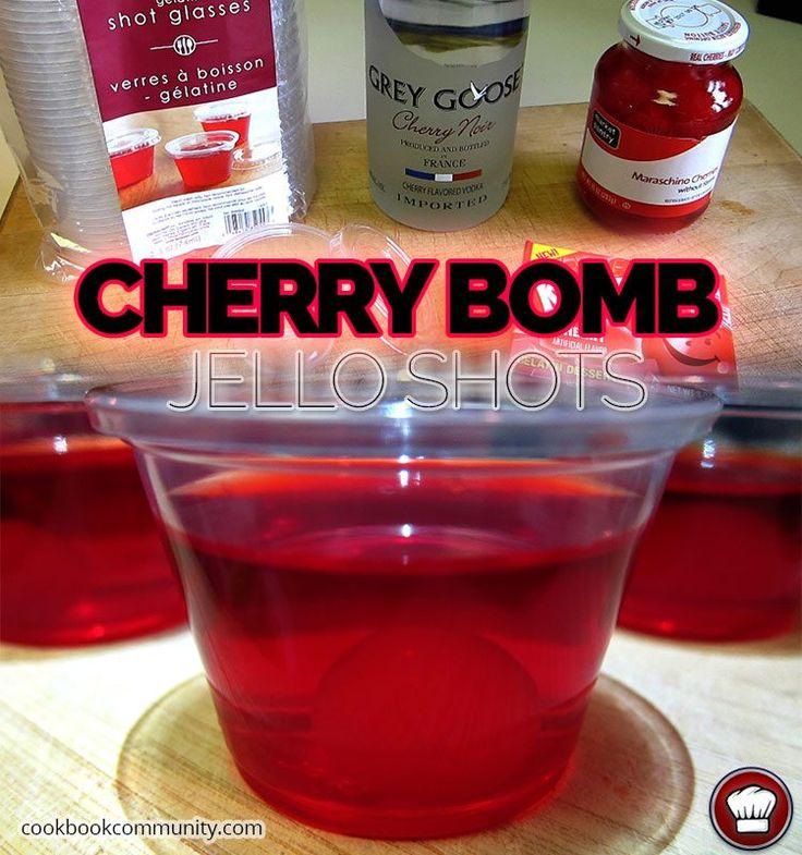 CHERRY BOMB JELLO SHOTS - Cherry Jello, Vodka, Maraschino Cherry