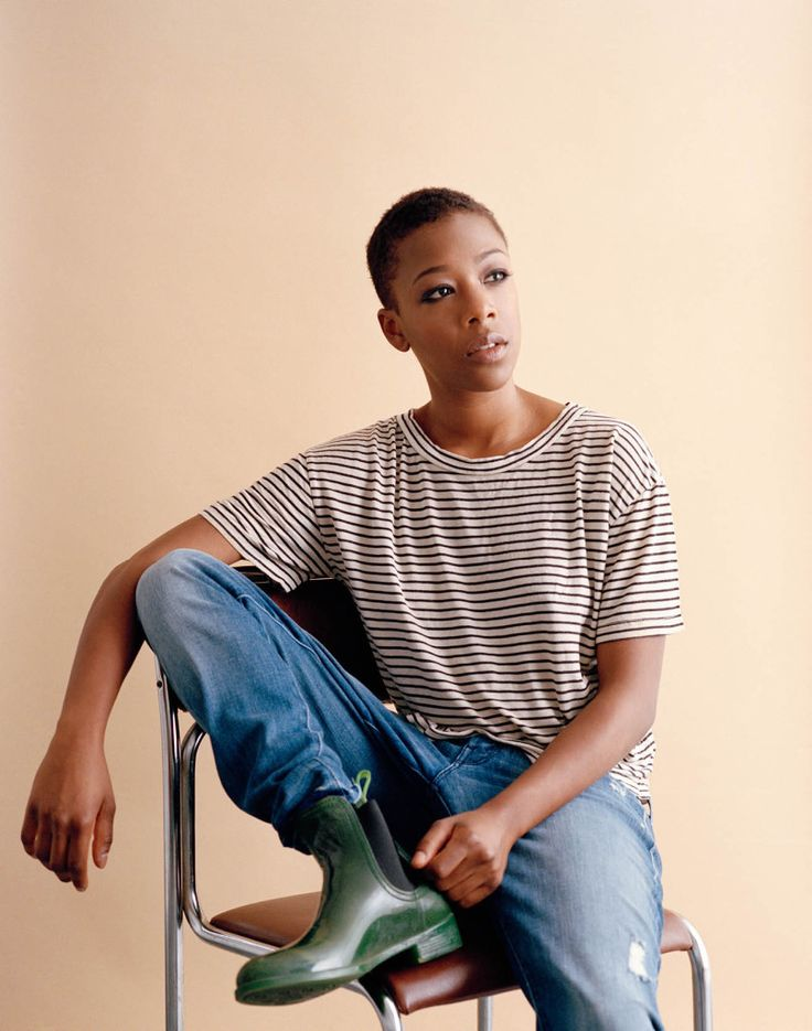 Stylist's own striped shirt, Mother jeans, Jeffrey Campbell boots. Samira Wiley. darling as Poussey in OITNB