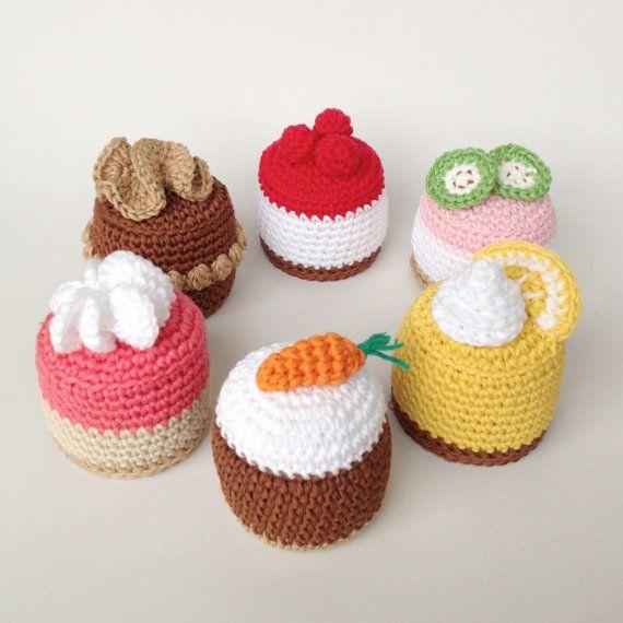 Crochet Cakes, Crochet Cupcakes, Knit Cakes, Knit Food, Amigurumi Cakes on Etsy, $20.87