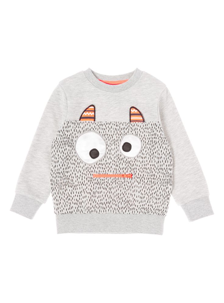 A fun top with a cute monster print. This sweat comes complete with a zip up front pouch and long sleeves. Perfect for the colder months, pair this cotton rich piece with jeans or joggers for a finished look. Grey monster novelty crew neck sweat Cotton rich Ribbed hems Cartoon print on front Long sleeves Embroidery Crew neckline Front zip pouch Keep Away From Fire