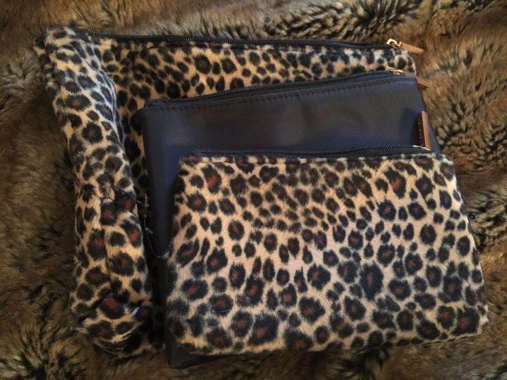 celebrity set of 3 leopard fur graduated zipper makeup pouches NEW #celebrity