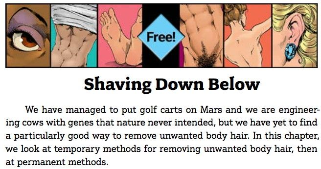 Guide To Getting It On: Shaving Down Below (PDF) https://www.guide2getting.com/wp-content/uploads/2015/11/Shaving-Down-Below.pdf (free chapter) - pubic hair shaving