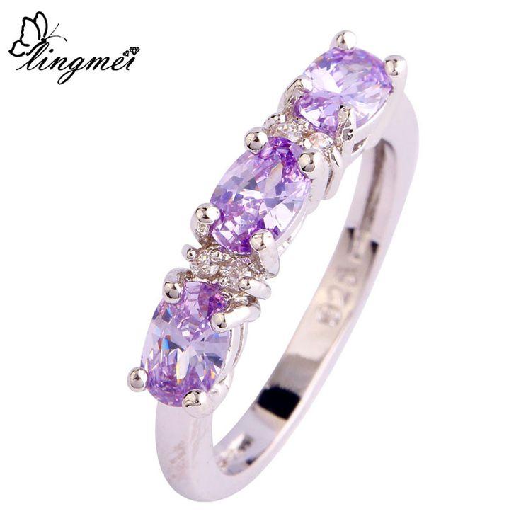 lingmei Wholesale Elegant Lady Tourmaline White CZ Silver Ring Size 6 7 8 9 10 11 12 Women Nice Gift Love Free Shipping