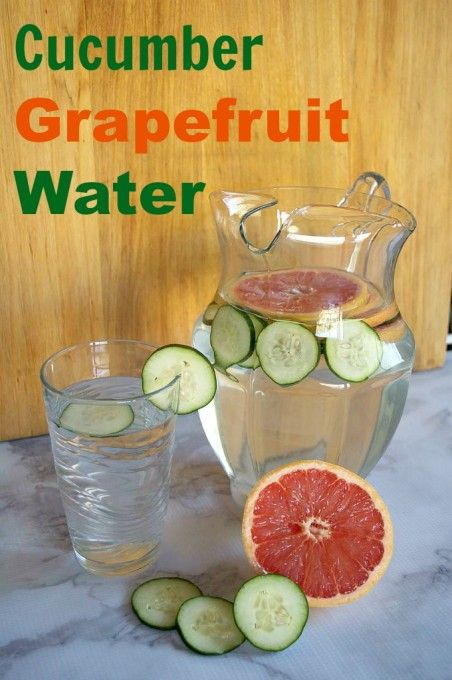 Cucumber Grapefruit Water:  10 fresh cucumber slices 1/2 Ruby Red grapefruit 1 g…