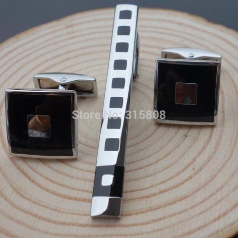 Male cuff links tie clip set