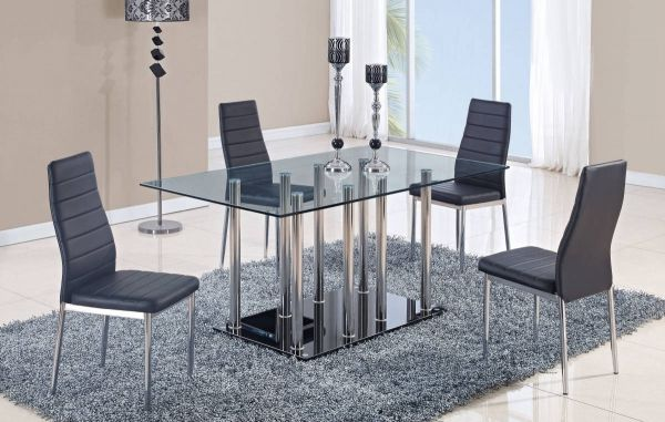 D368 Series Black Glass Stainless Steel Dining Table