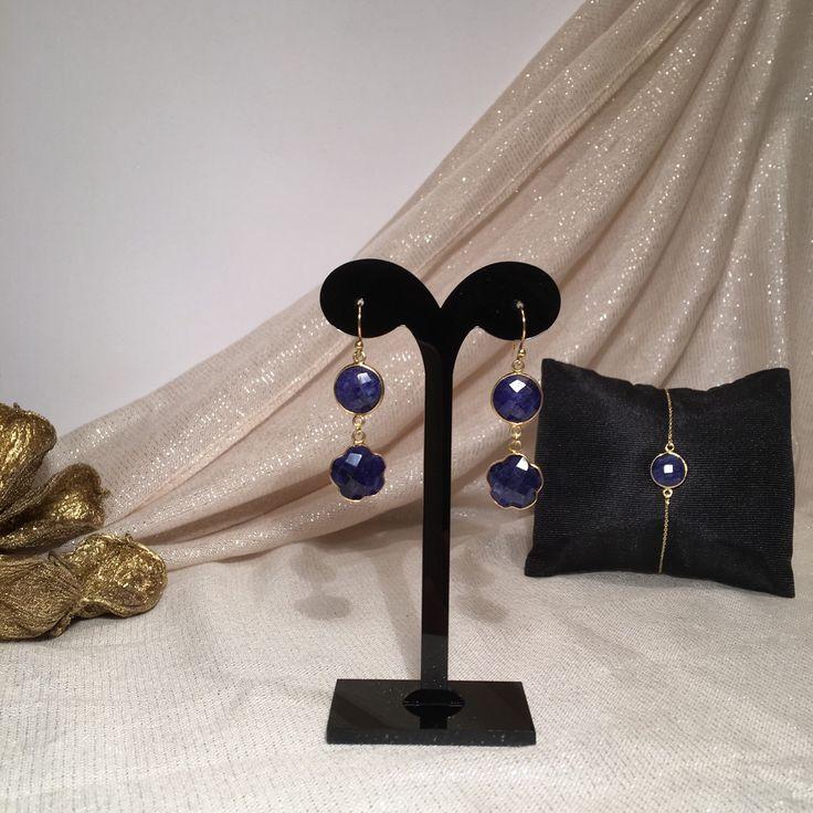 Exclusieve silsjewels handgemaakte oorbellen met natuurlijke saffier edelstenen sterling zilver 22k goud op zilver (vermeil)