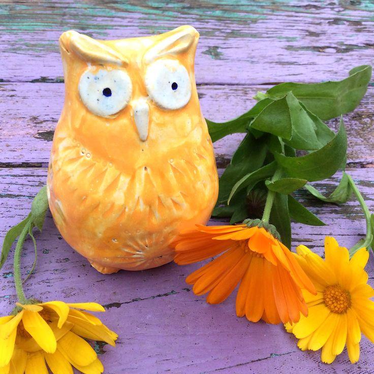 Очень яркая сова, почти как календула .  #сова #свистулька #оранжевый #керамика