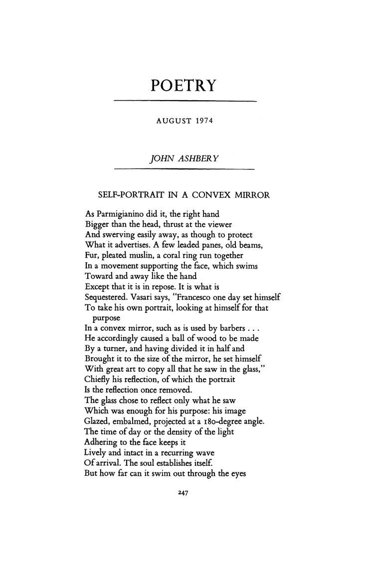 Self-Portrait in a Convex Mirror by John Ashbery | Poetry Magazine
