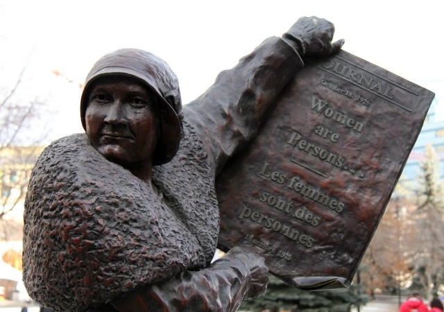 Sculpture in Calgary representing a member of a group called the Famous Five – five Alberta women who won the right for women to be legally recognized as persons. By sculptor Barbara Paterson