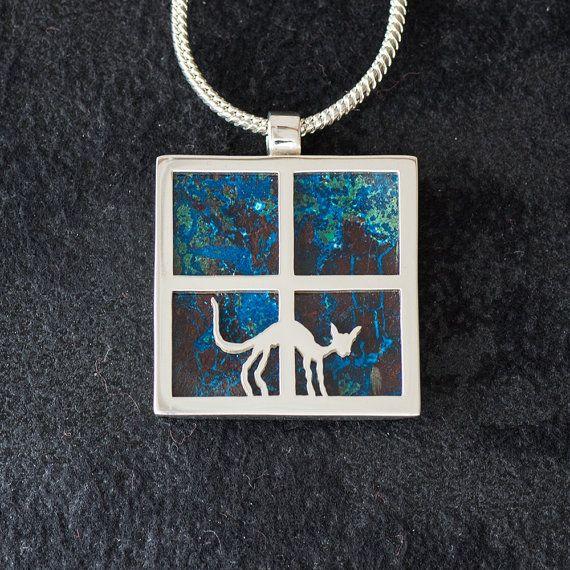 Window Cat featuring Azurite/Malachite - Hand-cut Reversible Sterling Silver Pendant