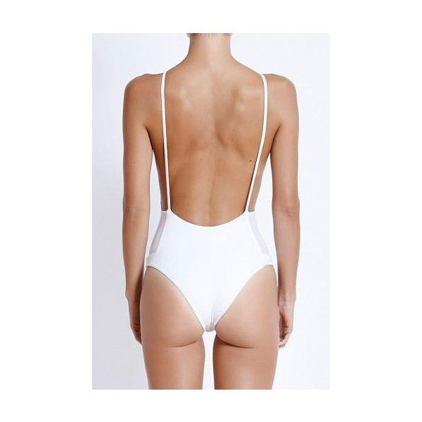 FELLA Mad Max Low Back One-piece in White (240 NZD) ❤ liked on Polyvore featuring swimwear, one-piece swimsuits, high neck one piece swimsuit, sexy one piece bathing suits, white swimsuit and sexy one piece swimwear