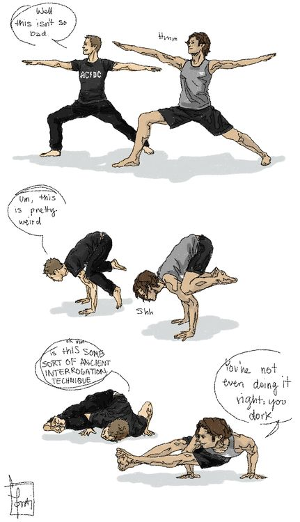 Sam and Dean doing yoga - this...this is kinda awesome!