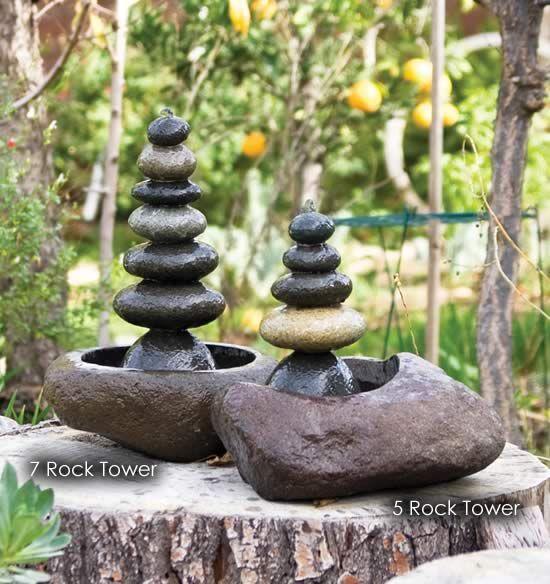 Japanese Garden Indoor: Zen Cairn Rock Towers Tabletop Indoor Outdoor Water