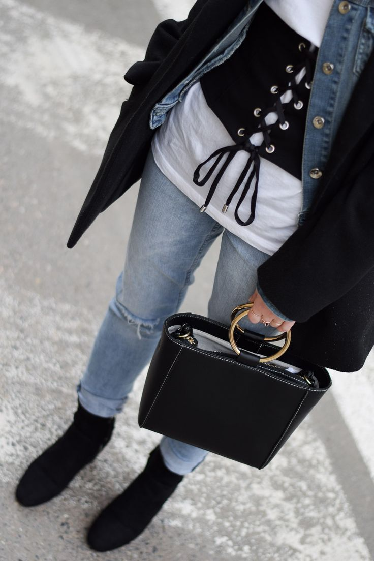corset belt mango trend bag metal handle outfit layering