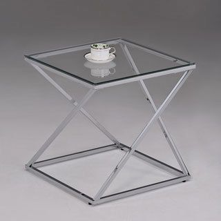 Contemporary Chrome Metal Glass Square End Table   Overstock.com Shopping - The Best Deals on Coffee, Sofa & End Tables