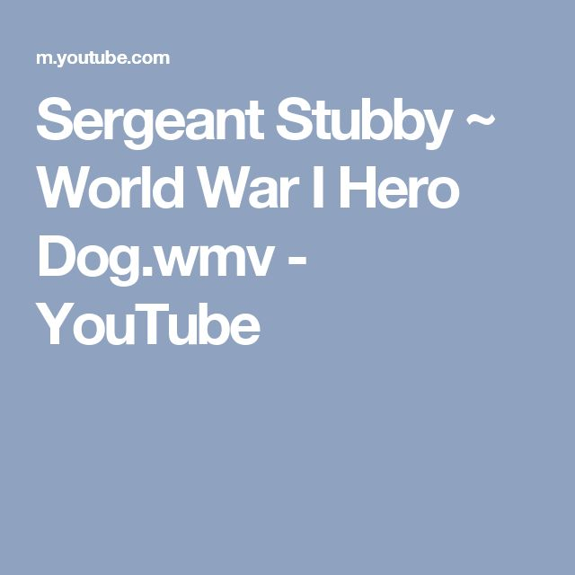 Sergeant Stubby ~ World War I Hero Dog.wmv - YouTube